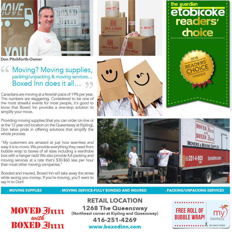 Boxed Inn WINS Gold Award for Best Moving Company in Etobicoke